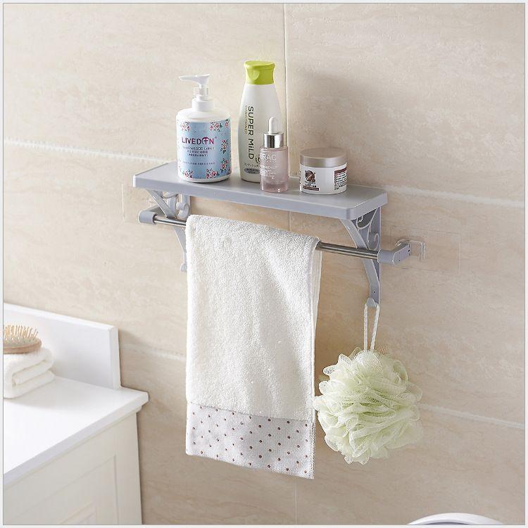 创意多功能浴室置物架  无痕免钉粘贴式浴室整理架收纳架毛巾挂架