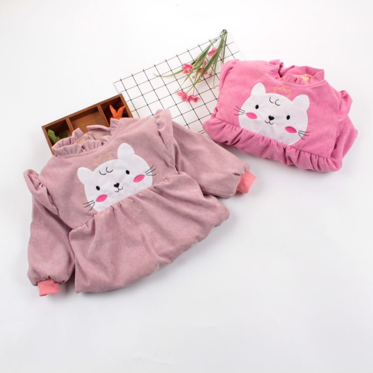 加棉宝宝反穿衣女童夹棉婴儿棉衣儿童罩衣小孩倒挂衣护衣冬季外衣