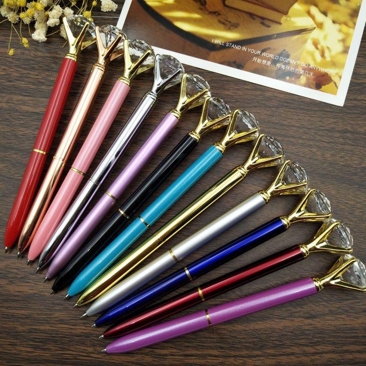 帆莱直销金属钻石笔 钻石水晶笔 旋动金属圆珠笔 水晶钻石笔定制