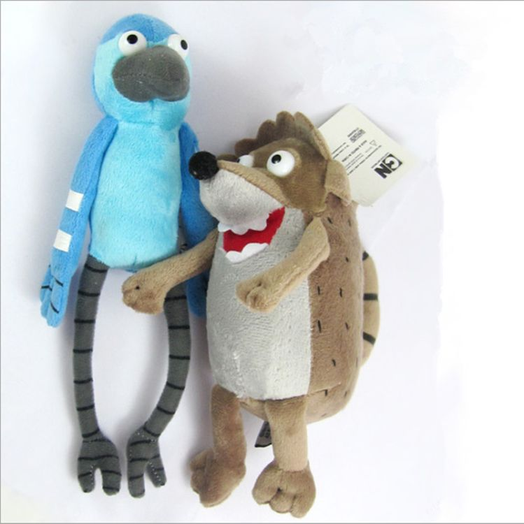 欧美卡通动画日常工作毛绒玩具瑞格比浣熊摩迪凯松鸭蓝色毛绒公仔