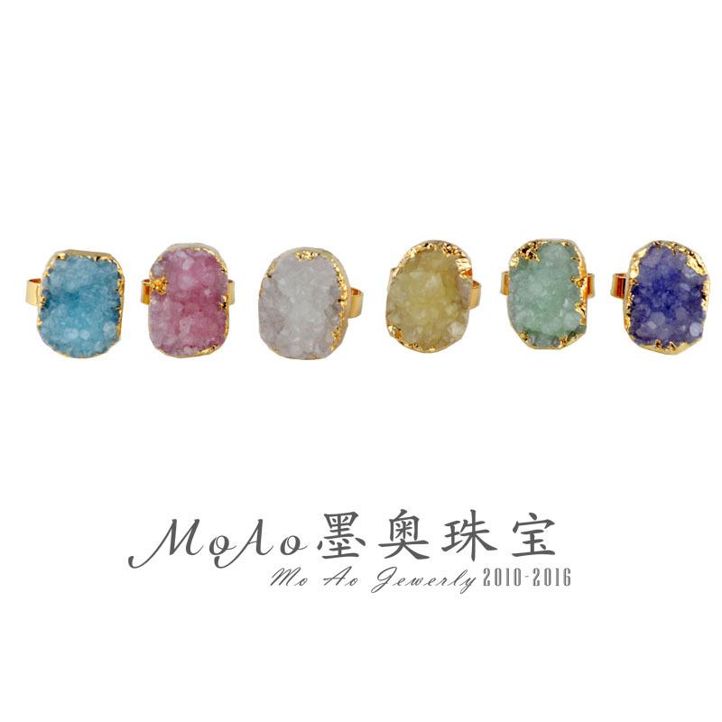 速卖通 wish 天然石晶芽 水晶晶芽晶簇 圆形戒指可调节开口指环