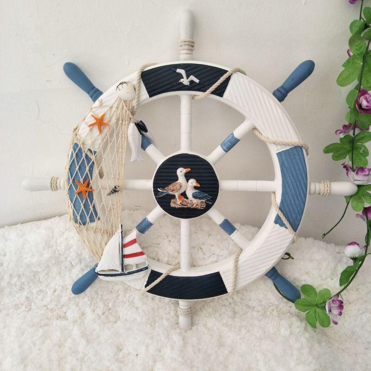 地中海风格装饰 45公分木制船舵挂件 家居客厅酒吧舵手壁挂工艺品
