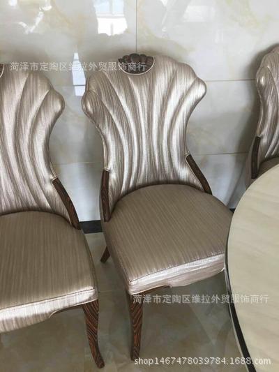 定做 餐桌餐椅 欧式黑白简约酒店 饭店 实木框架 无扶手餐椅