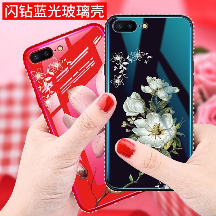 iPhone XS MAX玻璃手機殼適用蘋果7PLUS鑲邊水鉆6S戀花藍光保護套