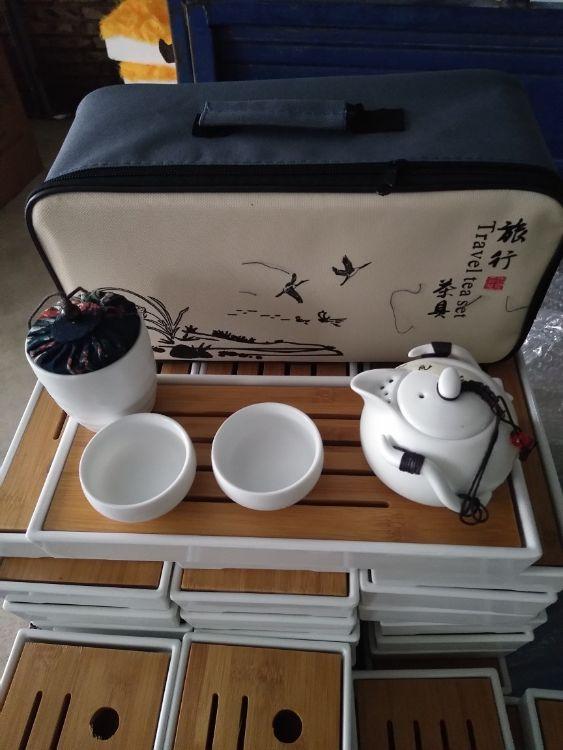 定窑功夫旅行茶具套装陶瓷整套户外便携茶具批发礼品定制LOGO茶具