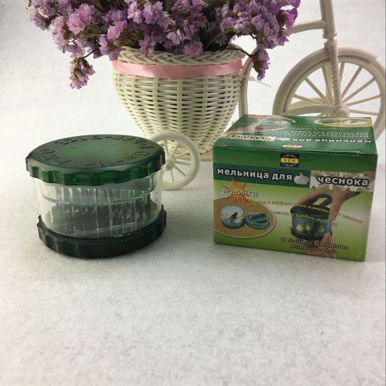 厨房用品捻蒜盒压蒜器蒜泥器蒜蓉器 创意不锈钢刀片塑料捣蒜器