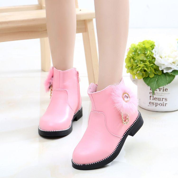 18冬天童鞋韩版时尚加绒女童中筒靴中大童儿童大棉雪地靴学生棉鞋