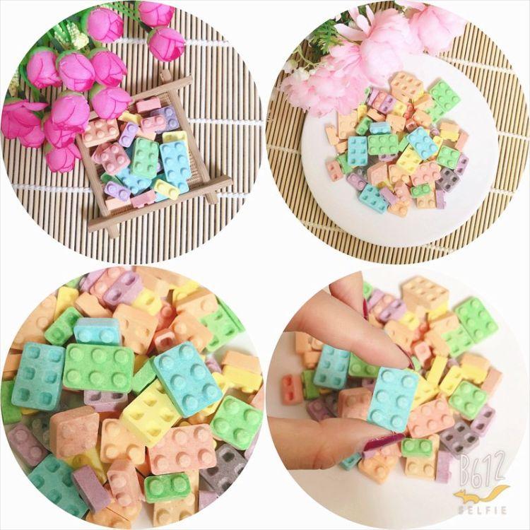 变形积木糖 5斤乘6包件 益智拼装糖果 儿童玩具压片糖批发代加工
