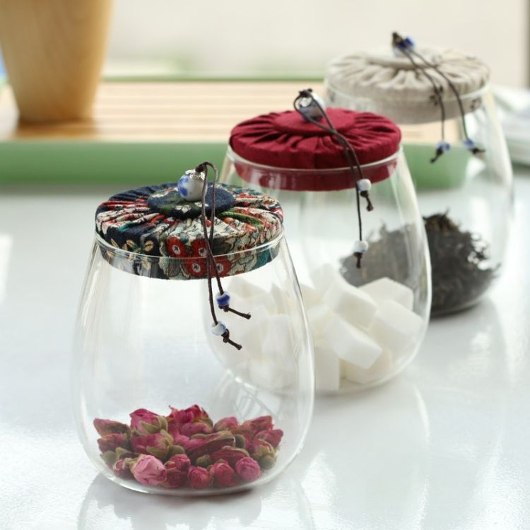 小型玻璃茶叶罐小玻璃瓶子 茶叶干果布盖储物玻璃瓶子批发
