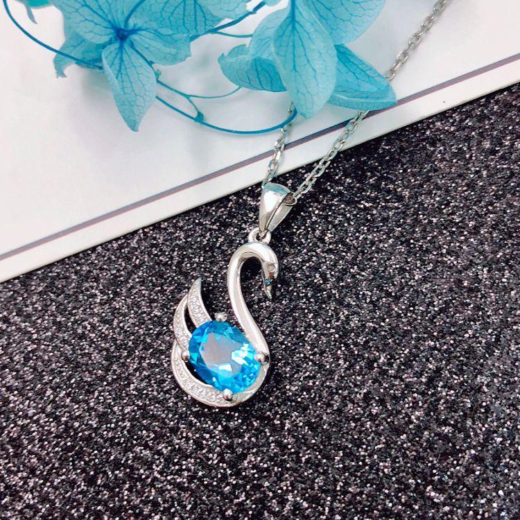 銀飾加工定制廠家批發S925純銀水晶托帕石項鏈吊墜飾品配飾 爆品