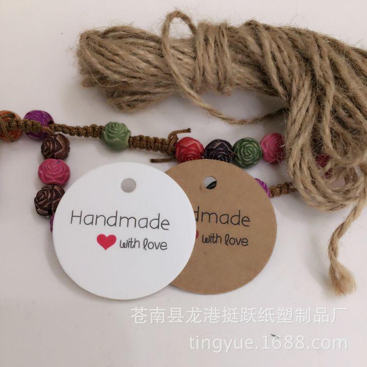 现货 圆形 Handmade吊牌 DIY 烘焙 礼物 留言 标签 亚马逊热卖
