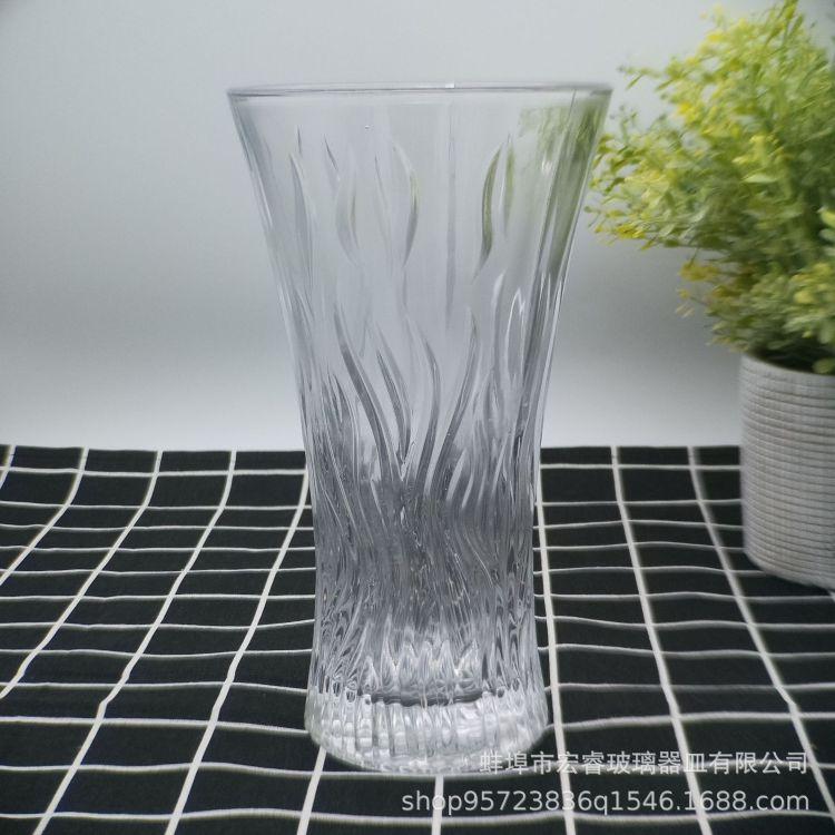 透明圆形玻璃花瓶 波纹植物花瓶摆件 创意家居摆件