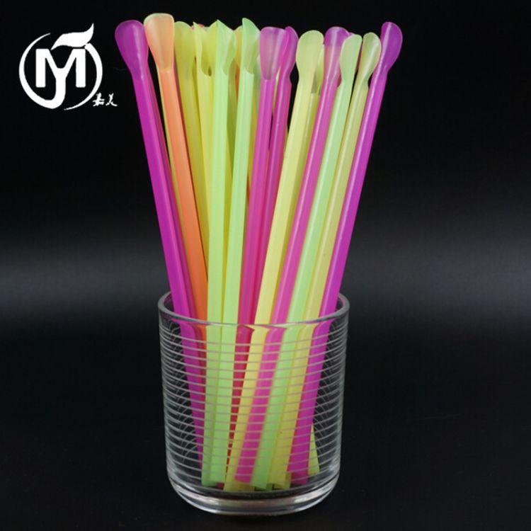 批发5000支加厚20cm一次性彩色果汁沙冰奶昔奶茶吸管 勺形细吸管