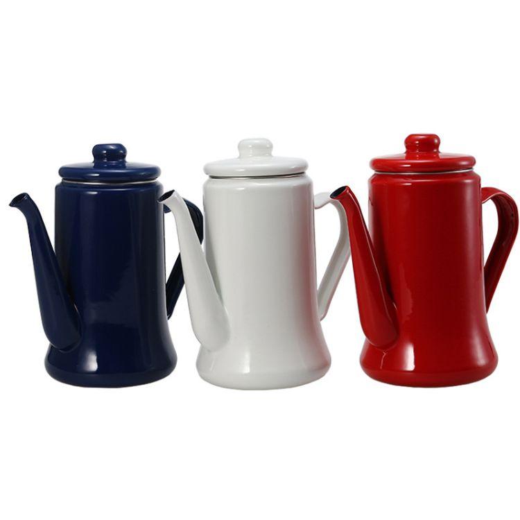 外贸出口日本茶具 手冲咖啡壶1.1L 加厚搪瓷壶 珐琅茶壶 油壶批发