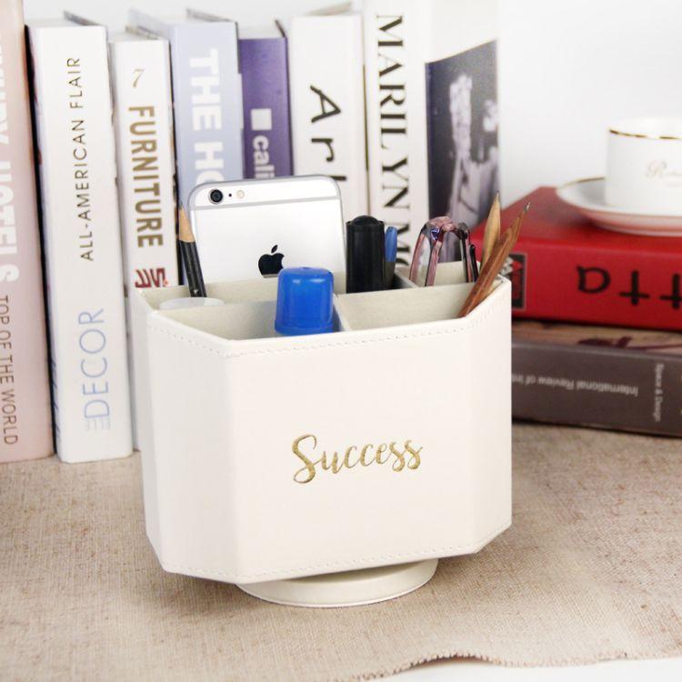 創意旋轉桌面收納盒 辦公家具多功能化妝刷遙控器筆筒收納盒