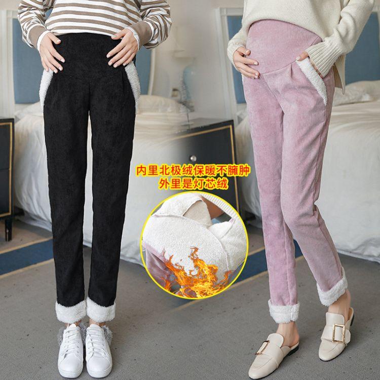 2018新款孕妇裤秋冬装新款冬季加厚加绒灯芯绒裤托腹保暖裤外穿