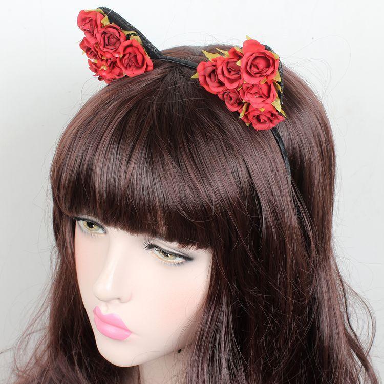 新款儿童写真发箍欧美亲子舞蹈演出圣诞头箍 玫瑰花朵猫耳朵头饰