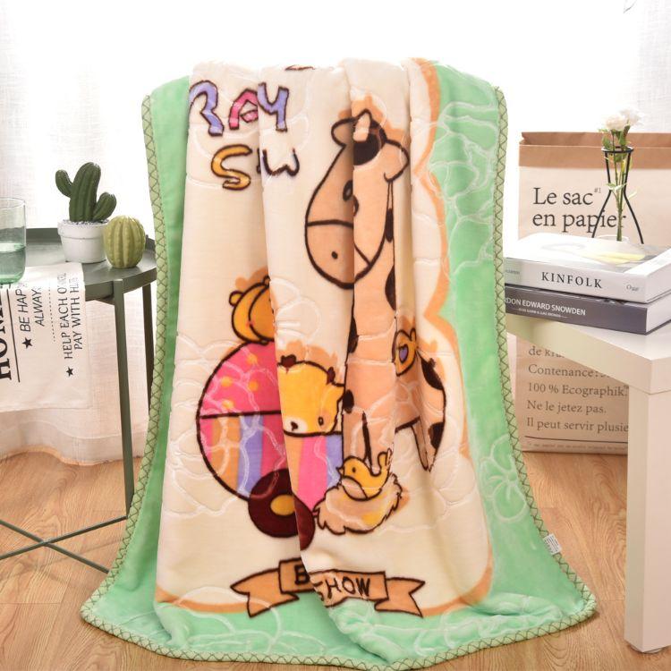 双层加厚卡通包边压花云毯  宝宝婴儿儿童毛毯双层毯子 大量批发