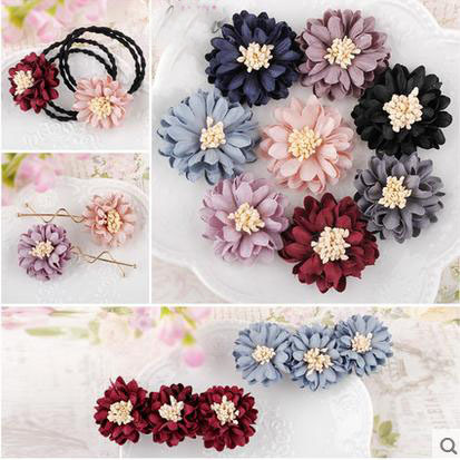 4cm手工布艺花朵手工diy发饰材料服装胸针饰品配件布花朵工厂直发