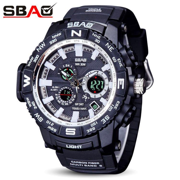 SBAO/雙寶wish跨境熱銷電子手表 多功能夜光鬧鐘潛水運動情侶手表