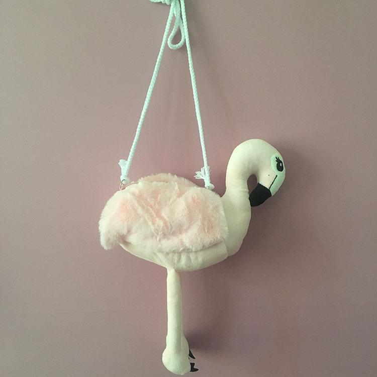 日系少女火烈鸟单肩斜挎毛绒手机包
