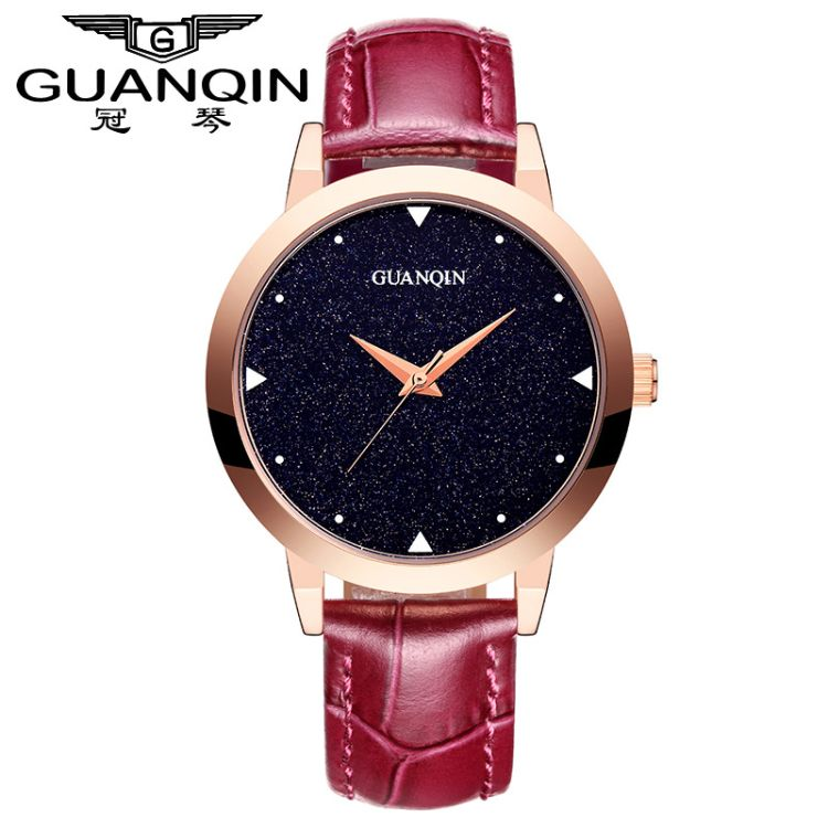 冠琴满天星女士皮带手表  防水学生手表简约 石英品牌时尚女表