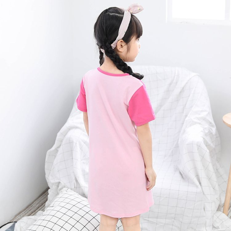 厂家直销儿童夏季纯棉睡裙短袖女中大童居家服睡衣裙圆领连衣裙棉