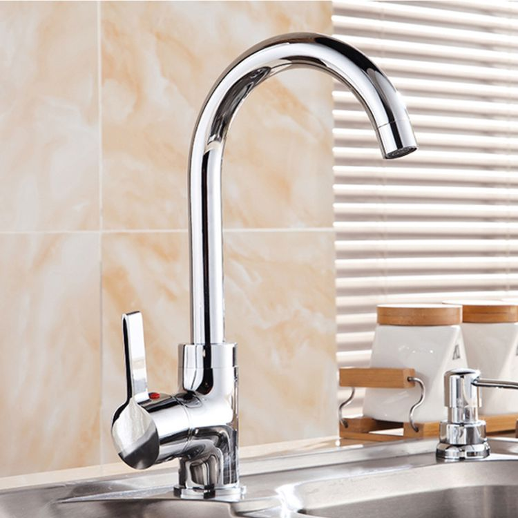 全铜大弯水龙头厨房龙头360度旋转卫生间卫浴面盆水龙头