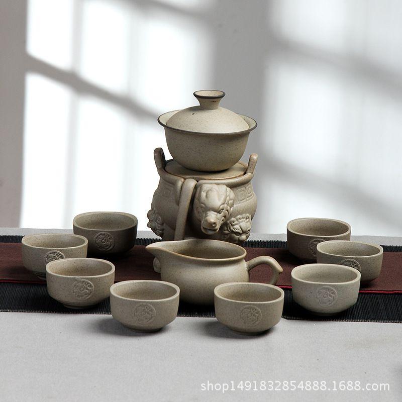 粗陶茶具整套功夫茶具自动懒人陶瓷茶具茶具套装礼盒装礼品茶具