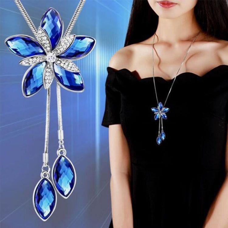 韩版时尚服装百搭毛衣链水晶镶钻气质潮流长款高雅项链流苏毛衣链