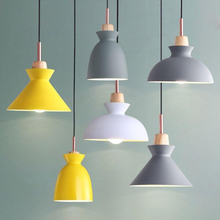 北欧个性艺术创意彩色糖果马卡龙餐厅客厅卧室办公室实木铝材吊灯