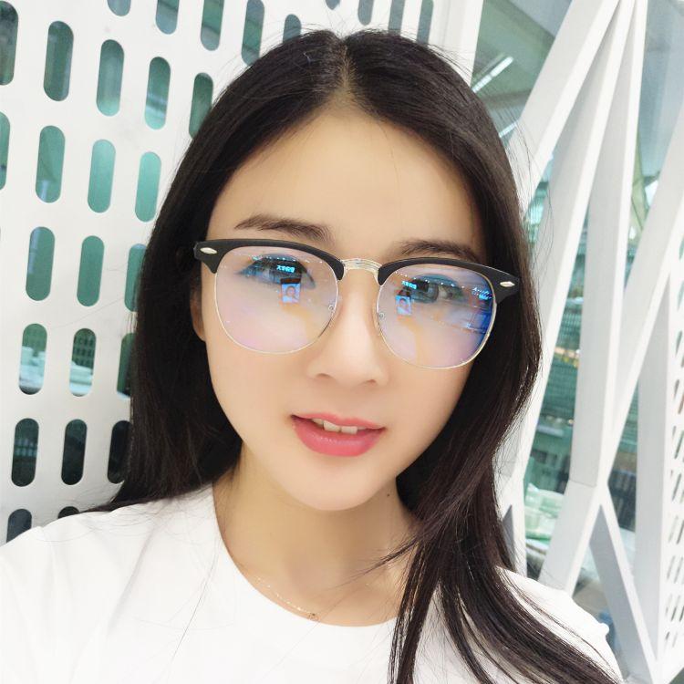 复古近视眼镜 金属半框男女通用白片现货成品近视镜学生近视眼镜