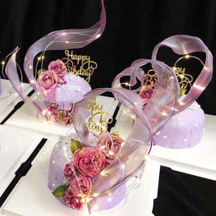 派对ins风生日蛋糕装饰蛋糕摆件丝带灯创意手工蛋糕装饰婚礼摆件