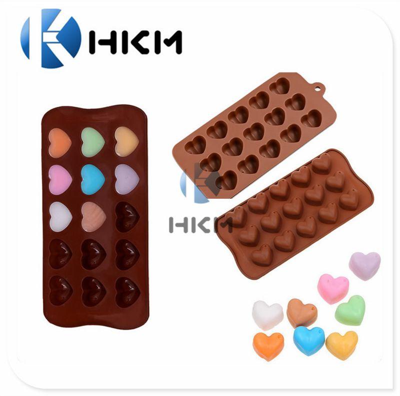 热销食品级硅胶心形蛋糕模 15孔爱心巧克力模型 冰格 烘焙工具