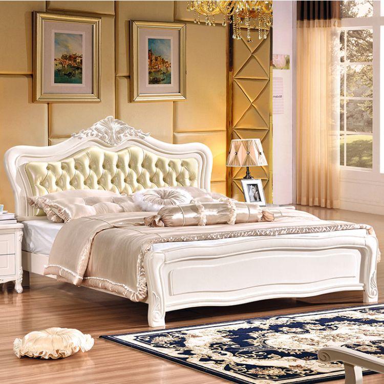 欧式简欧双人床 卧室白色简约欧式双人床 现代欧式双人床实木床