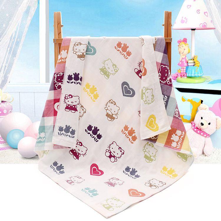 纯棉三层婴儿浴巾 童被婴儿毛巾被110*110 宝宝纱布浴巾 透气吸水