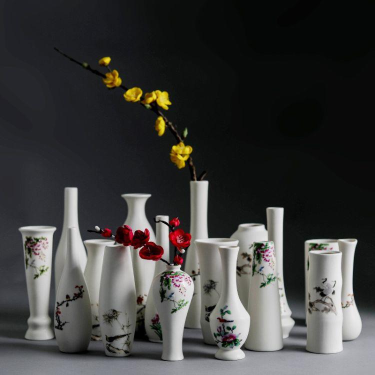 厂家直销现代简约手工陶瓷花瓶 粗陶花插瓷器客厅摆件瓷器工艺品