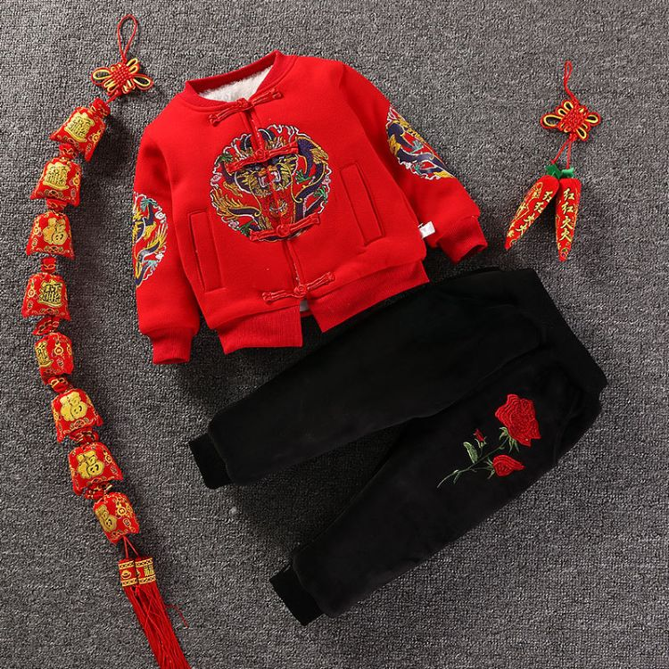 宝宝唐装冬加绒男童儿童拜年服婴儿周岁礼服过年喜庆新年女童汉服