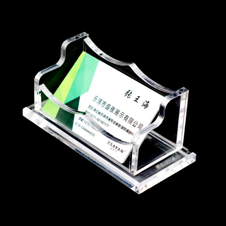 厂家定制桌面亚克力名片座 有机玻璃透明名片盒标签盒 可来样定制