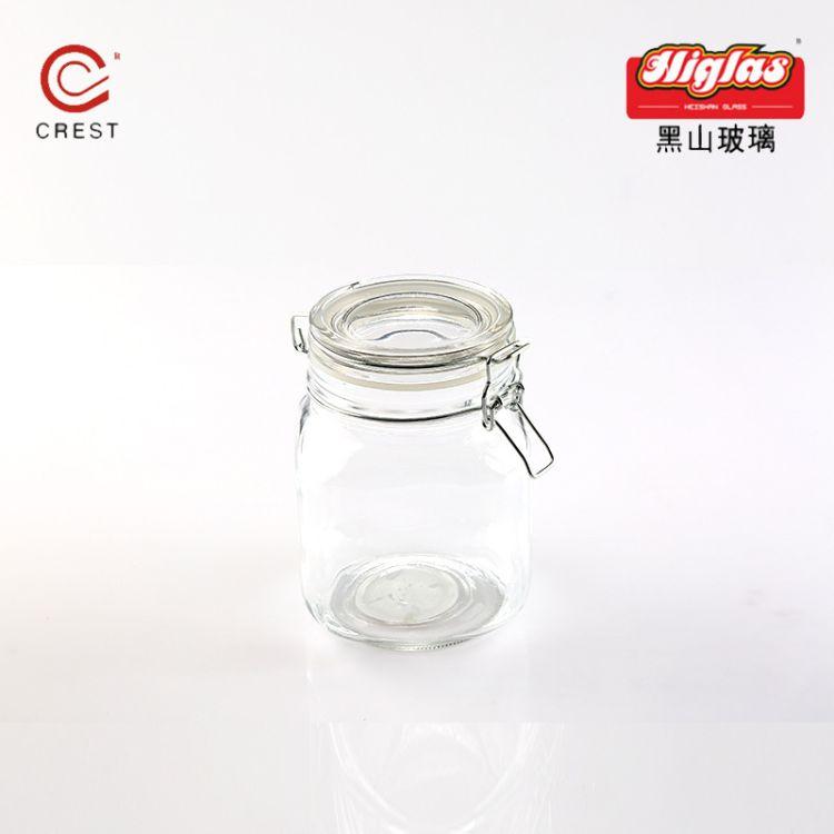HSP1346玻璃瓶2018热卖款透明玻璃卡扣瓶瓶黑山玻璃厂家直销批发