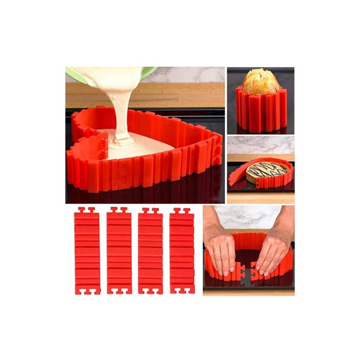 新款卡扣蛋糕围边硅胶模具  液态翻糖竖条纹巧克力烘焙用具蛋糕模