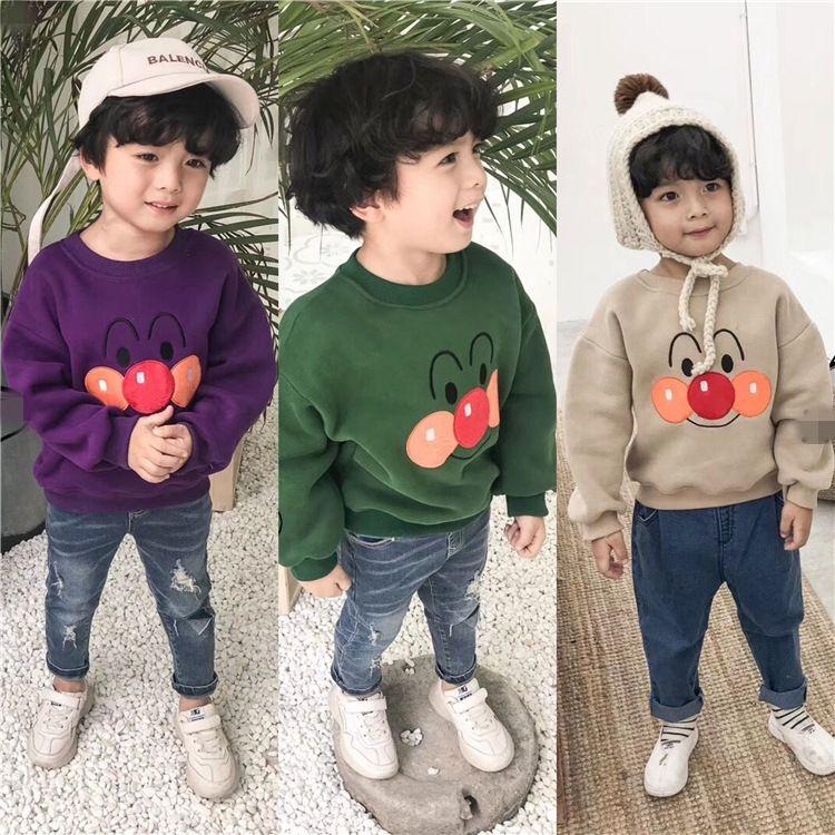 一件代发韩国秋冬季童装男女童可爱面包超人加绒圆领卫衣