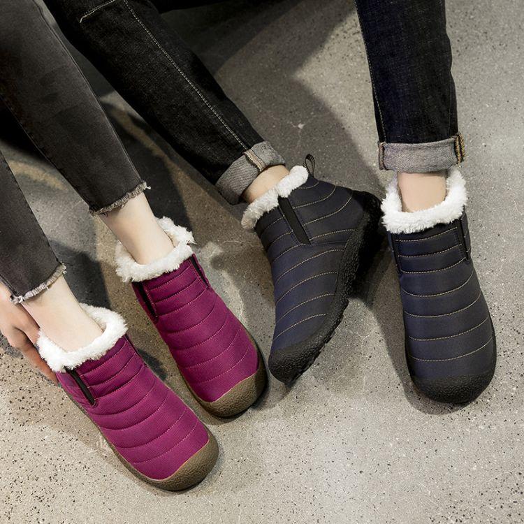 跨境爆款冬季雪地靴男高帮棉鞋大码防水橡胶底加绒保暖短靴低帮鞋
