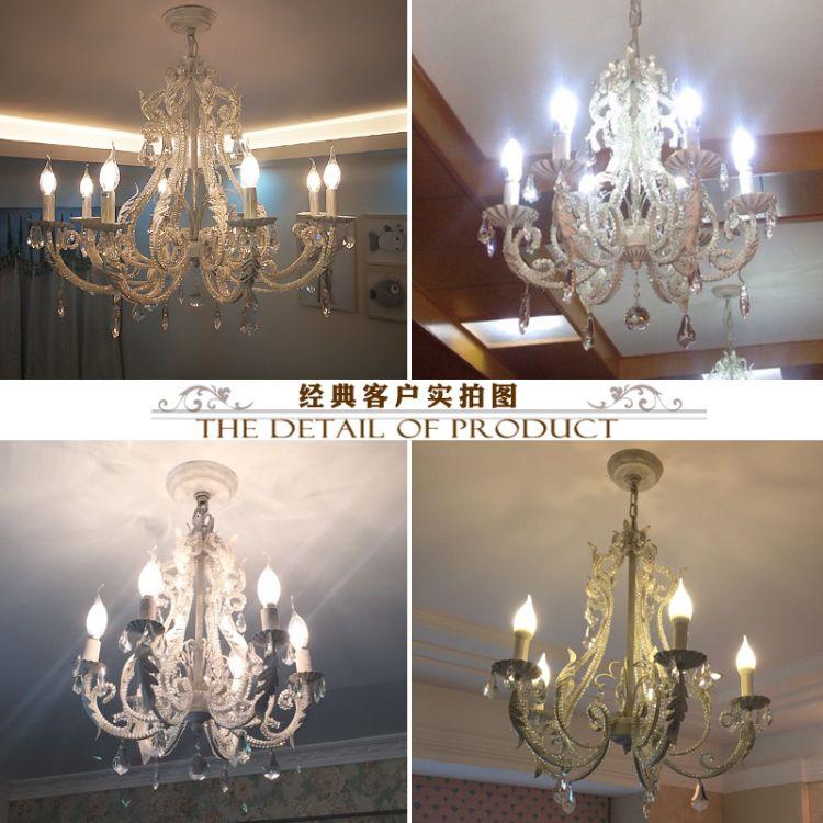 美式餐厅吊灯北欧复古乡村艺术铁艺灯饰客厅卧室书房工艺水晶吊灯
