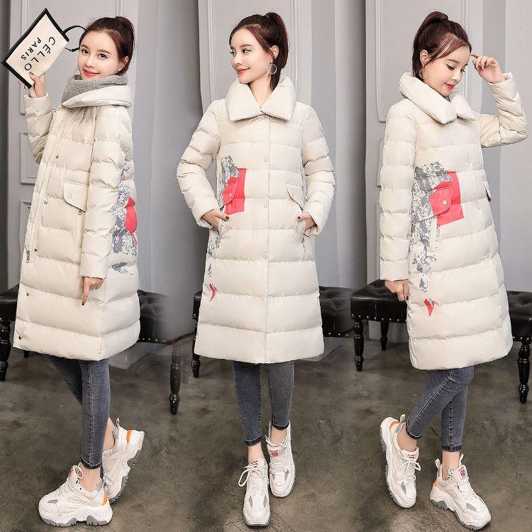 [厂家]冬装女2018新款棉服女士中长款韩版棉衣外套印花棉袄8901