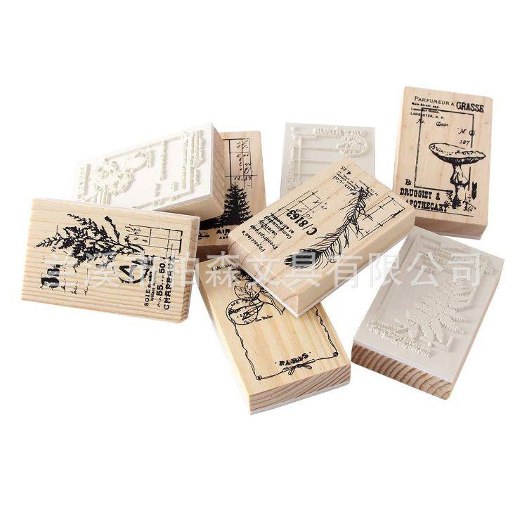 韩版可爱木制印章 木制精品印章套装 可爱装饰创意文具diy印章