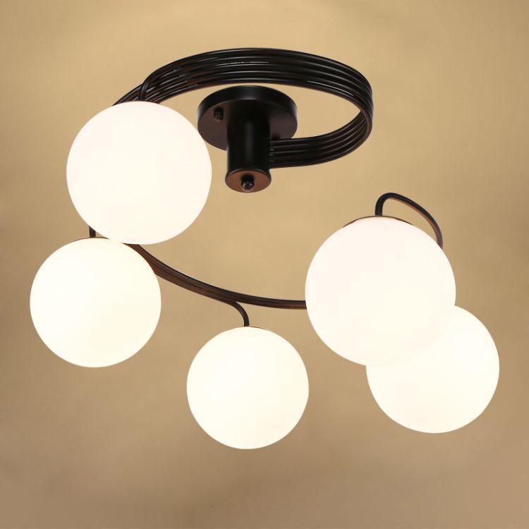 美式乡村吸顶灯 艺术北欧玻璃LED灯客厅灯卧室灯餐厅创意灯具批发