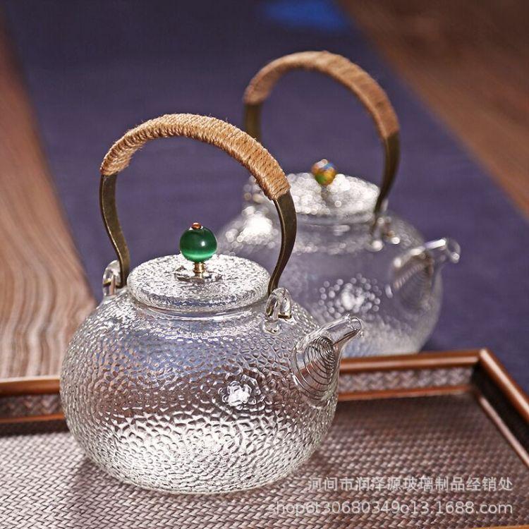 日式耐热玻璃茶壶锤纹煮茶壶电陶炉专用烧水壶铜把玻璃提梁壶茶壶
