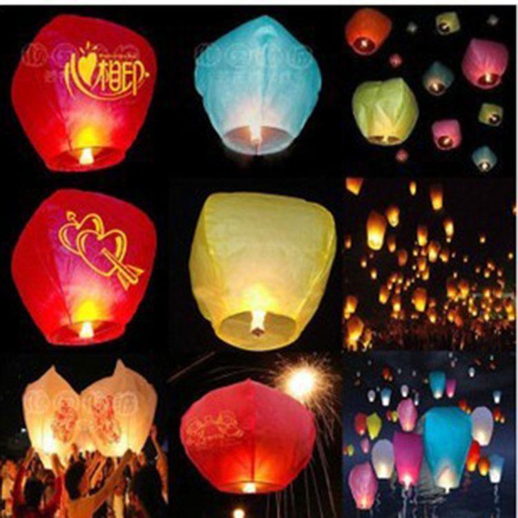 大号阻燃孔明灯批发含蜡块加厚义乌许愿灯创意飞天灯新年春节热卖