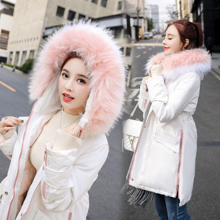 棉衣/棉服2018年冬季潮流简约连帽修身显瘦百搭长袖中长款拉链